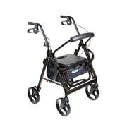Drive Medical Duet Dual Function Transport Wheelchair Rollator Rolling Walker, Black