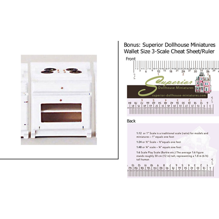 Dollhouse Miniature Kitchen Stove/white w/3-Scale Wallet Ruler