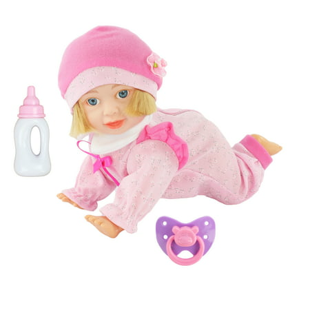 - Battery Operated Crawling Toy Baby Doll with Baby Sounds, Music and Realistic Head Movement