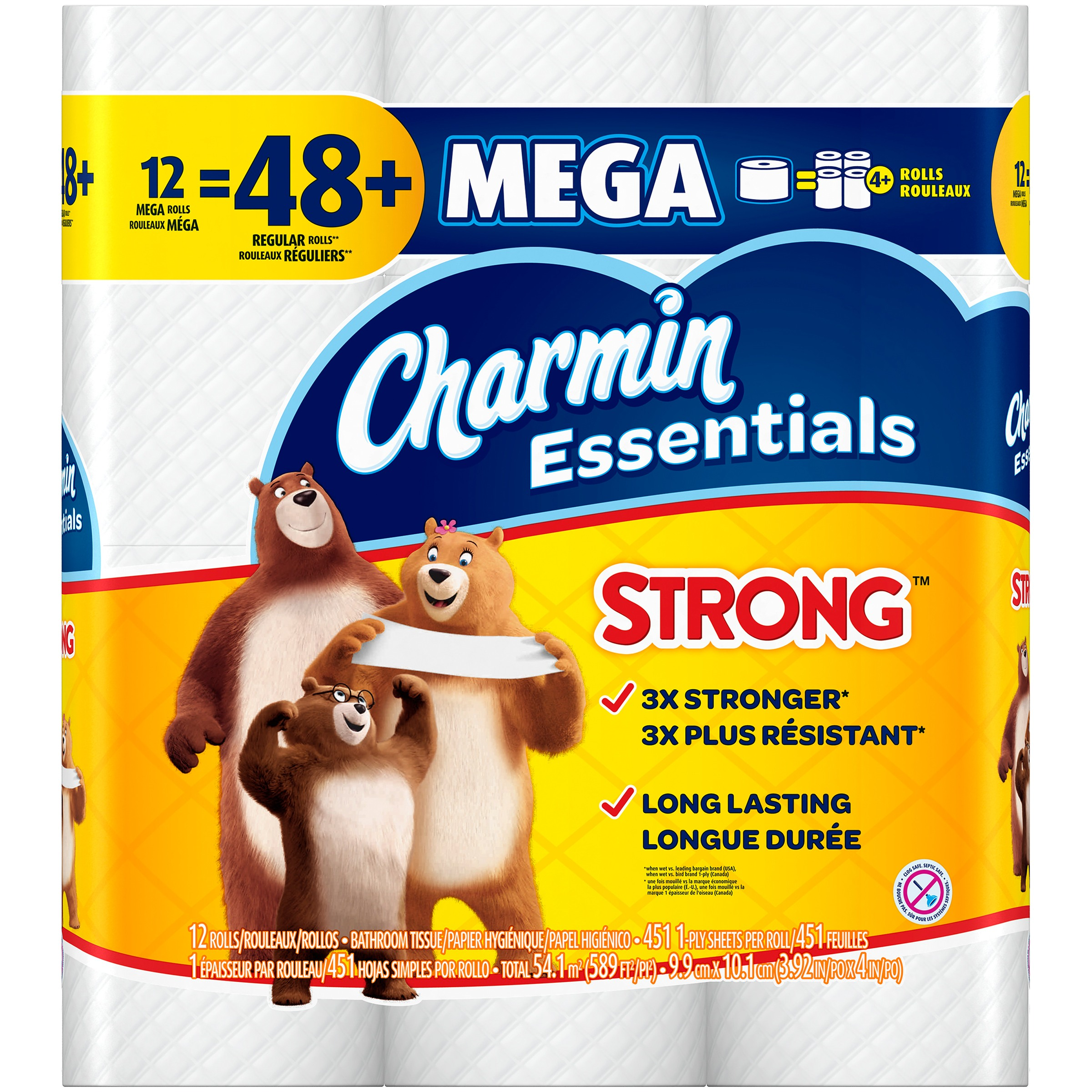 Charmin Essentials Toilet Paper, Strong, 12 Mega Rolls by Procter & Gamble