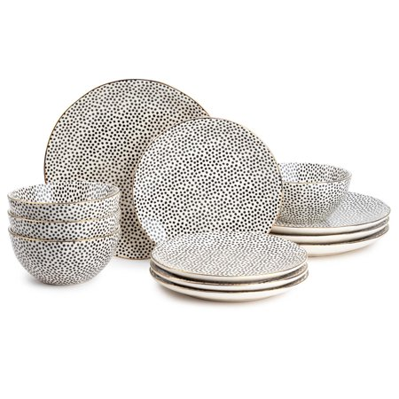 Thyme & Table Dinnerware Black & White Dot Stoneware, 12 Piece Set