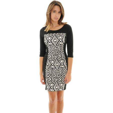Womens Dress Black White Print Dress Form Fitting Sheath Dress