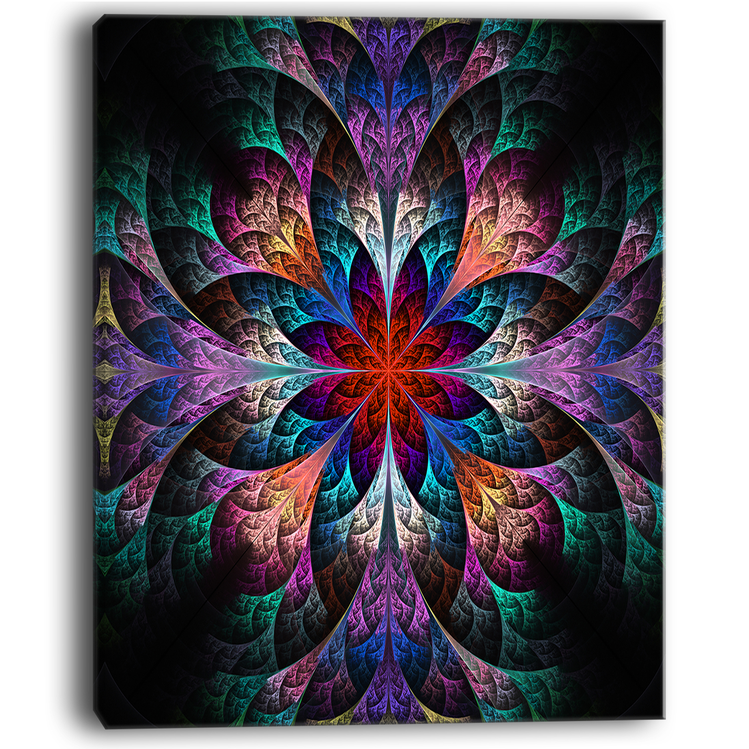 Multi Color Fractal Flower Pattern - Floral Canvas Art Print - image 2 of 3