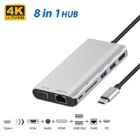 USB Hub for Tablets, USB Type C 8-in-1 Adapter with Ethernet Port, 4K HDMI, VGA, 2 USB 3.0 Ports, USB-C Power Delivery, Micro SD Card Reader, Mic/Audio, Compatible for MacBook pro and Other, I6632