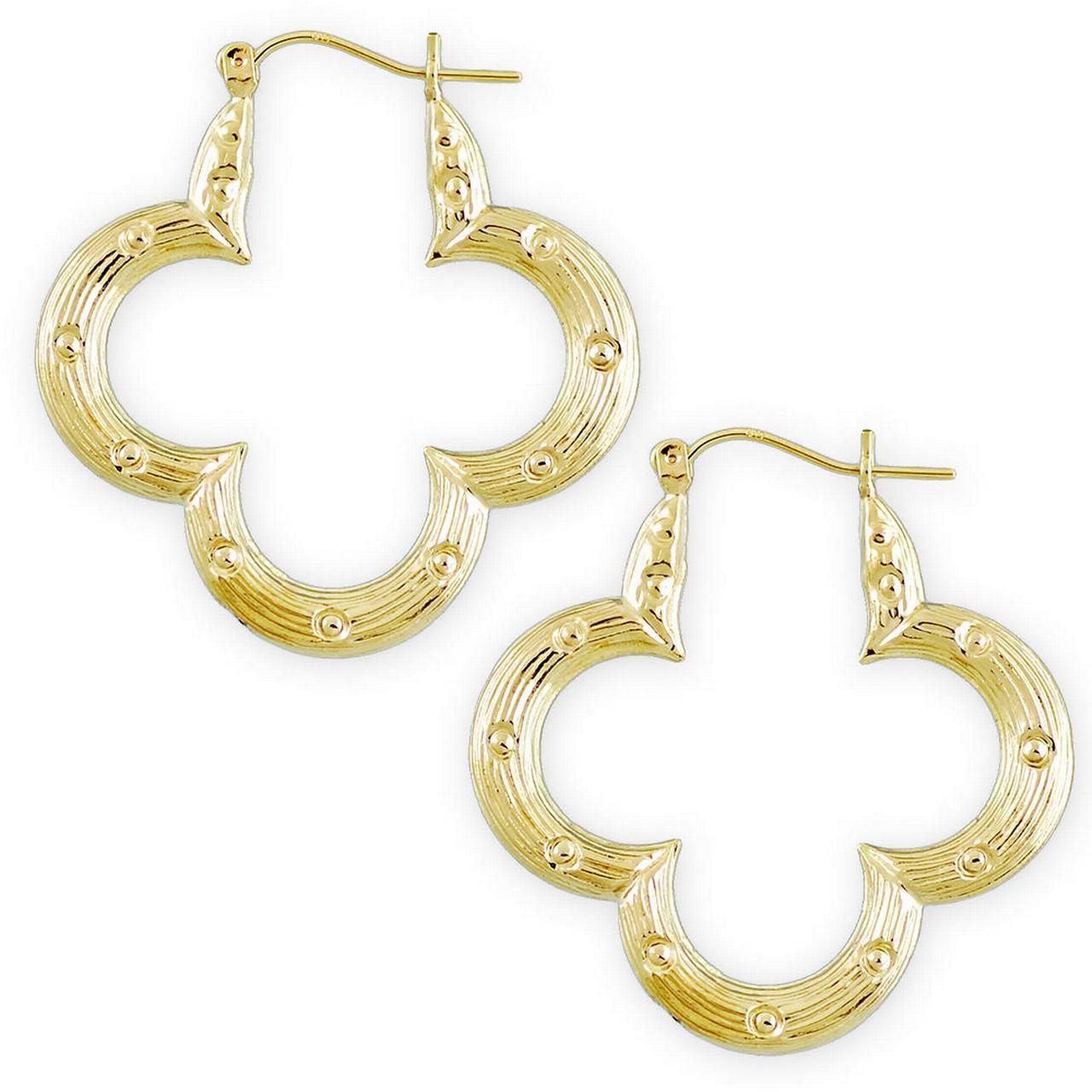 10k Yellow Gold Flower Shape Bamboo Hoop Earrings 1 1 2 Inch