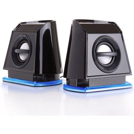 GOgroove BassPULSE 2MX Computer Speaker System with Universal USB Power and Glowing LED Base for Laptops and Desktops
