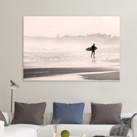 Beach Themed Wall Decor (wall26 - Canvas Wall Art Sports Theme - Man Walking Down The Beach a Surfing Board Under His Arms - Giclee Print Gallery Wrap Modern Home Decor Ready to Hang)