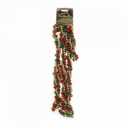 Santas Best Ltd SBC5813281041 Garland Twisted Bubbles Crimson/Gold/Green 8ft
