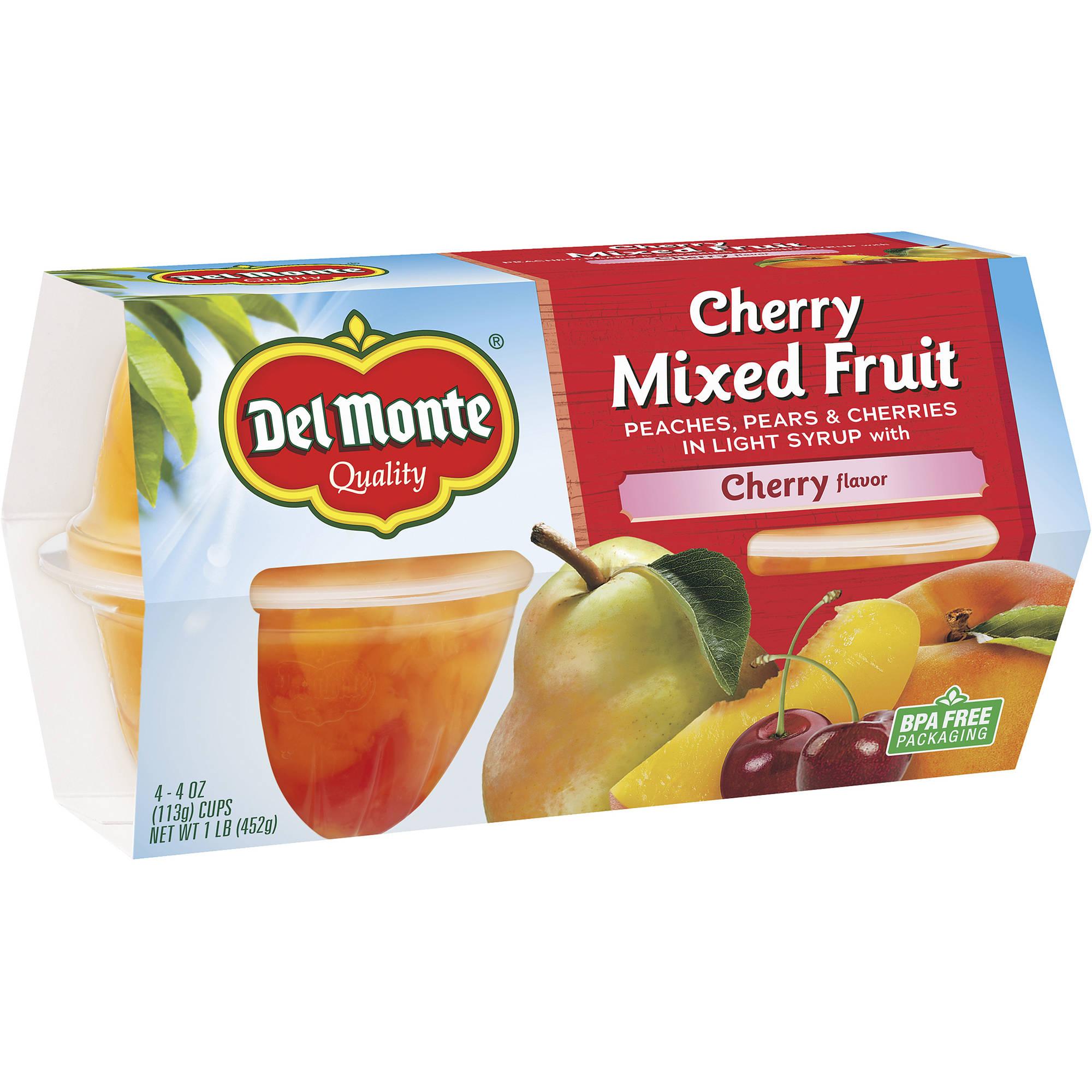 Del Monte Cherry Mixed Fruit, 4 oz, 4 count