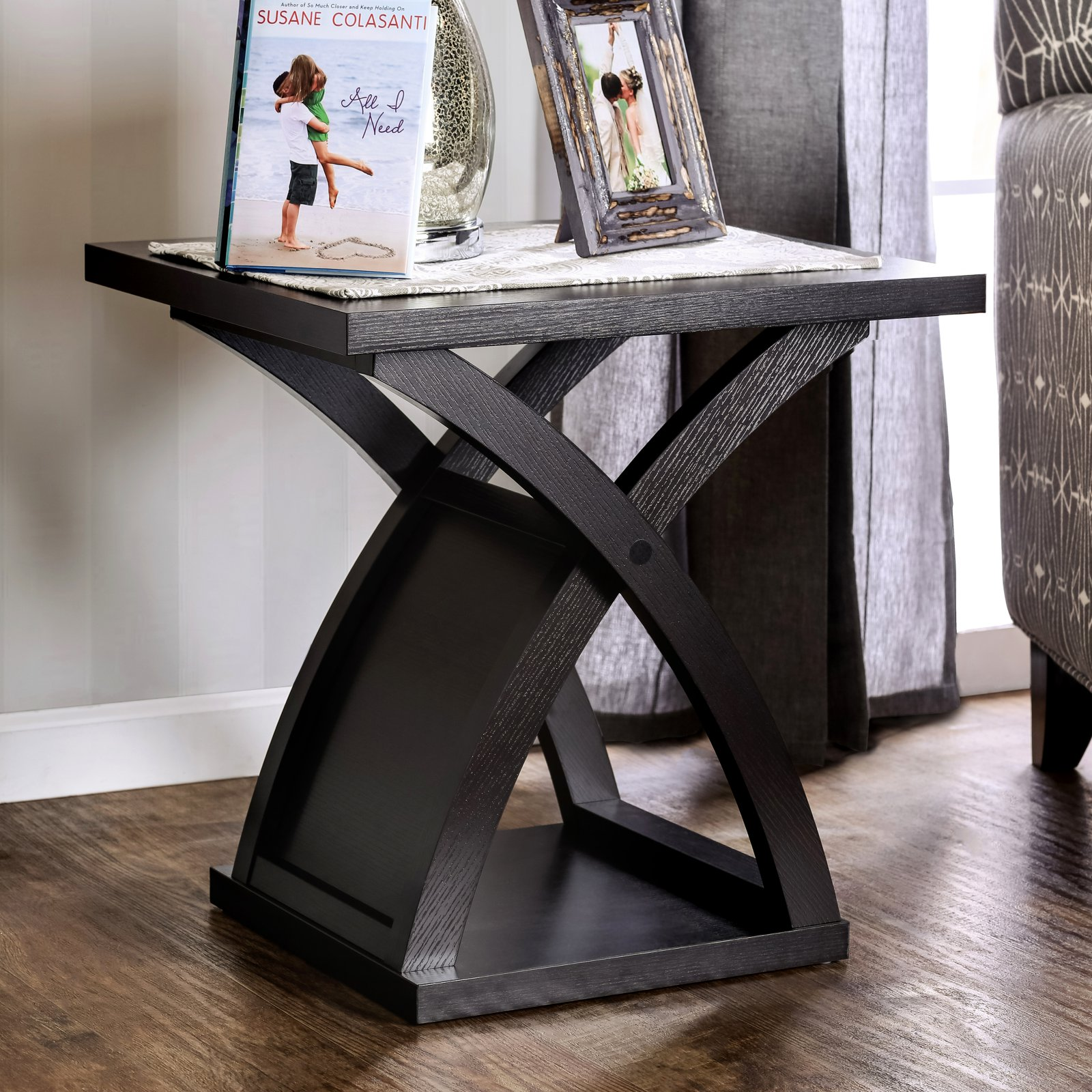 Furniture of America Monte Accent End Table Espresso by Enitial Lab