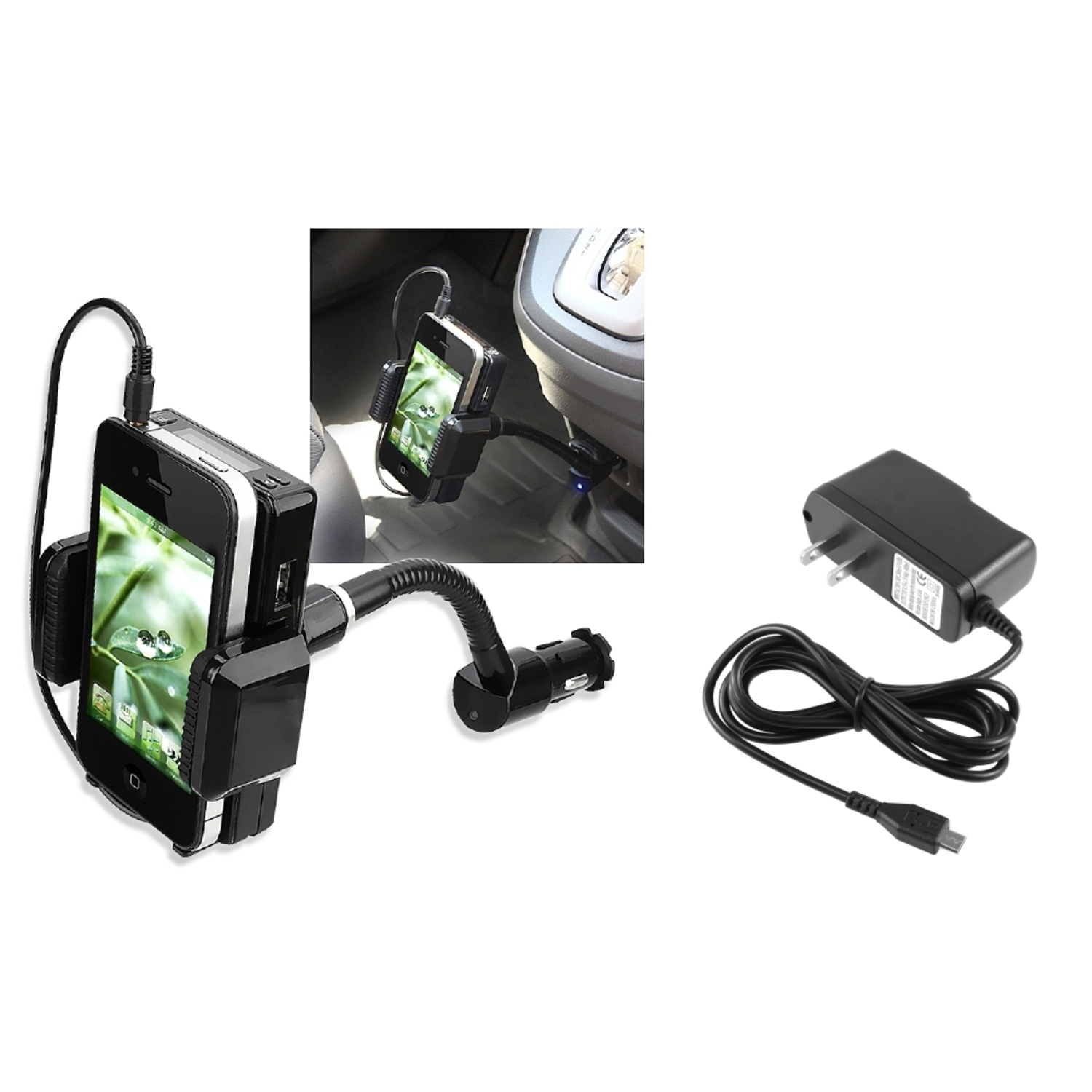 Insten 3.5mm FM Transmitter w\/mic+Wall Travel Charger For Samsung Galaxy S3 III i9300 S4 SIV i9500 S5 Note 4 N9100