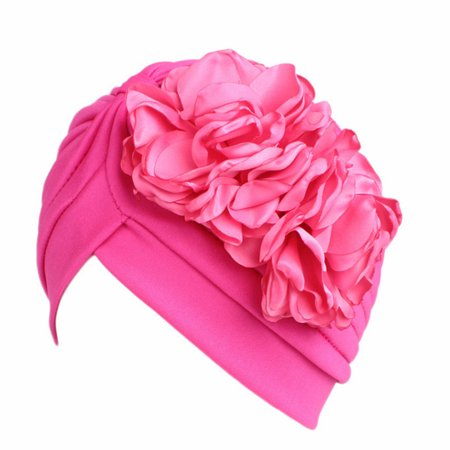 Fancyleo Women Muslim Hijab Elastic Turban Head Scarf Double Flower Beanie Hat Winter Warm Headwear Hair Accessories Cream](Ice Cream Hat)