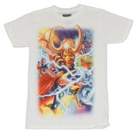 Thor (Marvel Comics) Mens T-Shirt - 75th Anniversary Thor Loki Battle Alex Ross