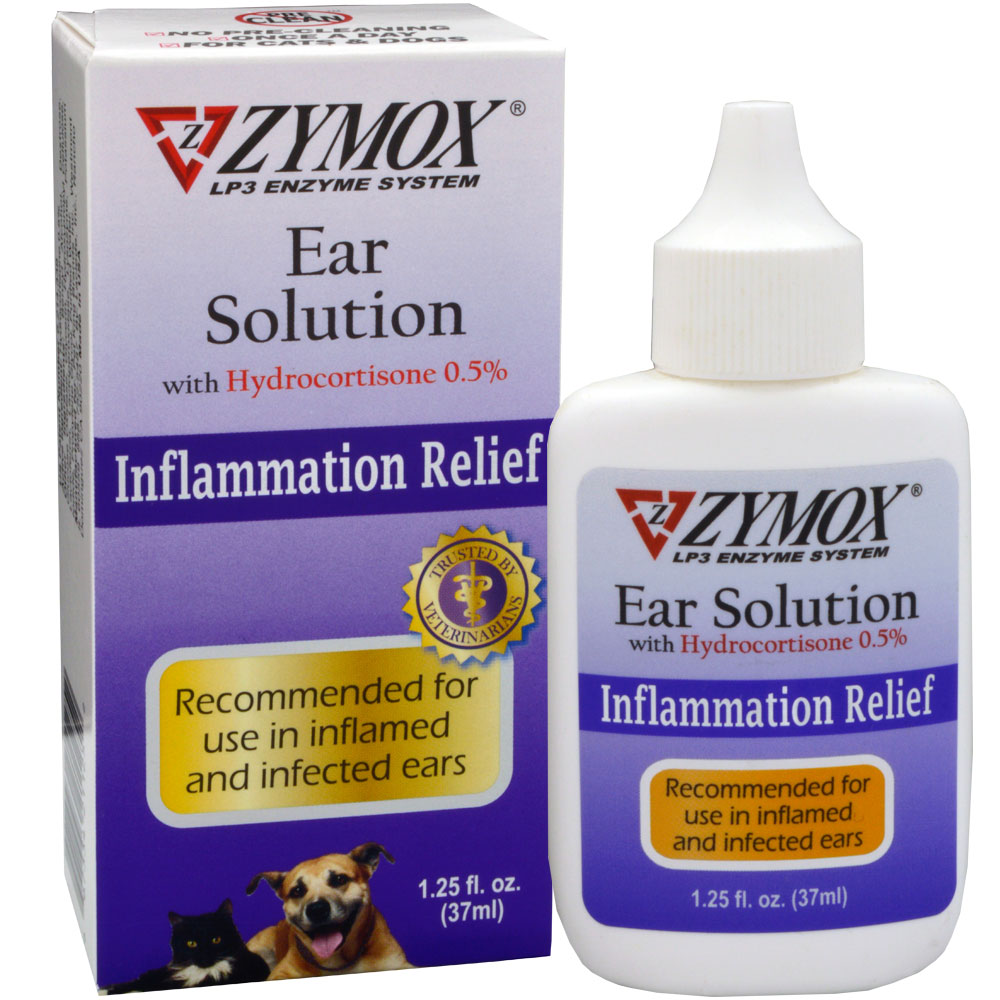 Zymox Ear Solution for Dogs and Cats With 0.5-Percent Hydrocortisone, 1.25 Ounce