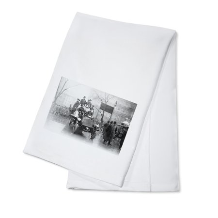 First Trip of Fire Engine 91 in New York City Photograph (100% Cotton Kitchen Towel) First Fire Engine