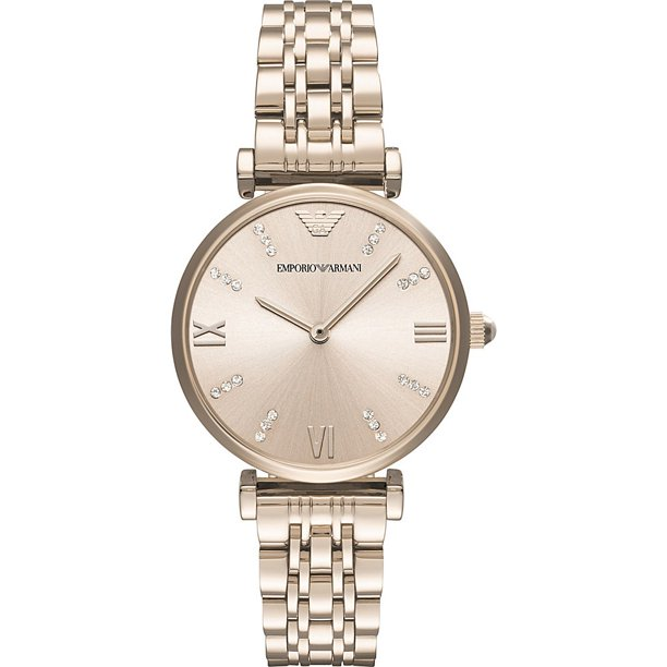Emporio Armani Women's Gianni T-Bar Rose-Gold Stainless Steel Watch AR11059