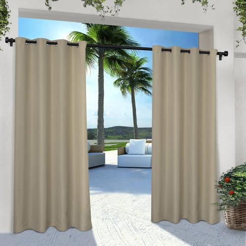 Indoor/Outdoor Solid Cabana Grommet Top Window Curtain Panel Pair