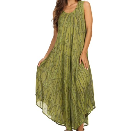 Forest Green Corduroy (Sakkas Kara Long Draped Sleeveless Marbled Caftan Dress / Cover Up - Forest Green - One Size Regular )