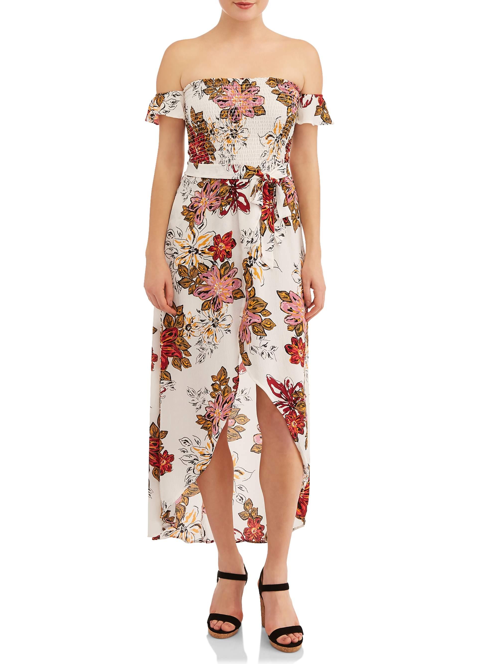 Juniors' Smocked Off the Shoulder Floral Maxi Dress