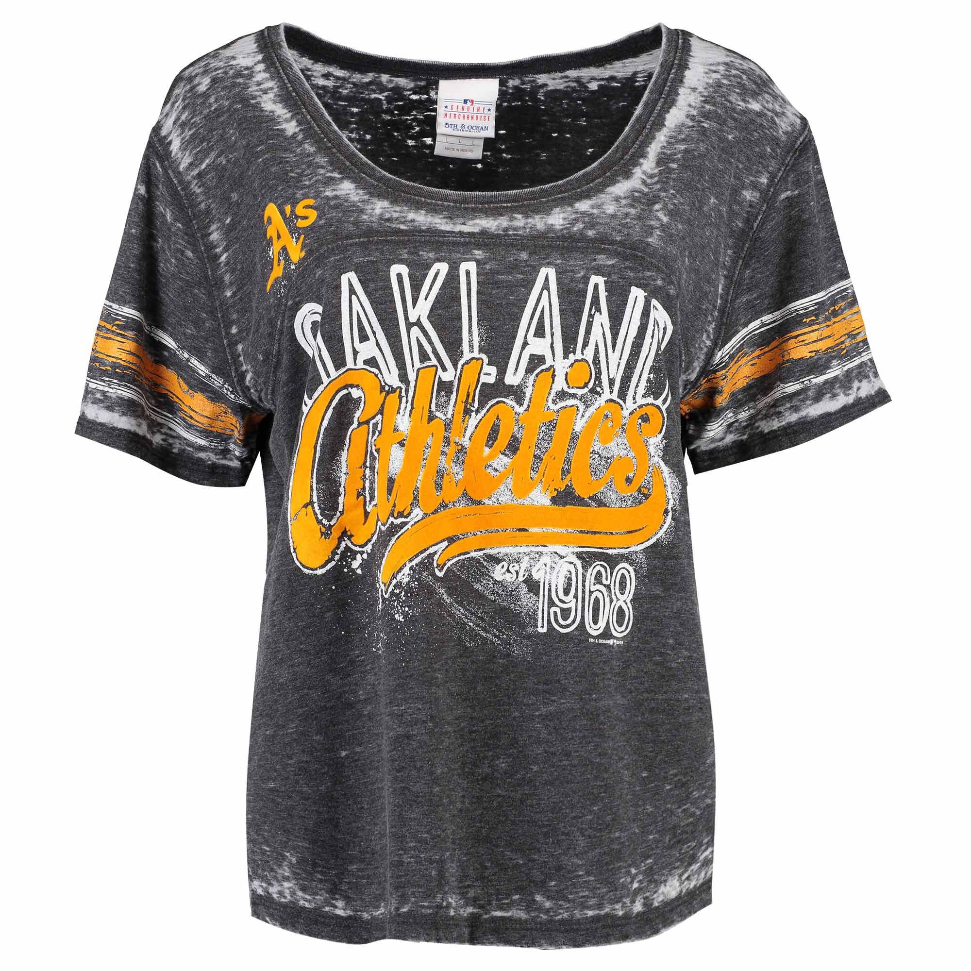 Women's 5th & Ocean by New Era Black Oakland Athletics Burnout Wash Hi-Low T-Shirt