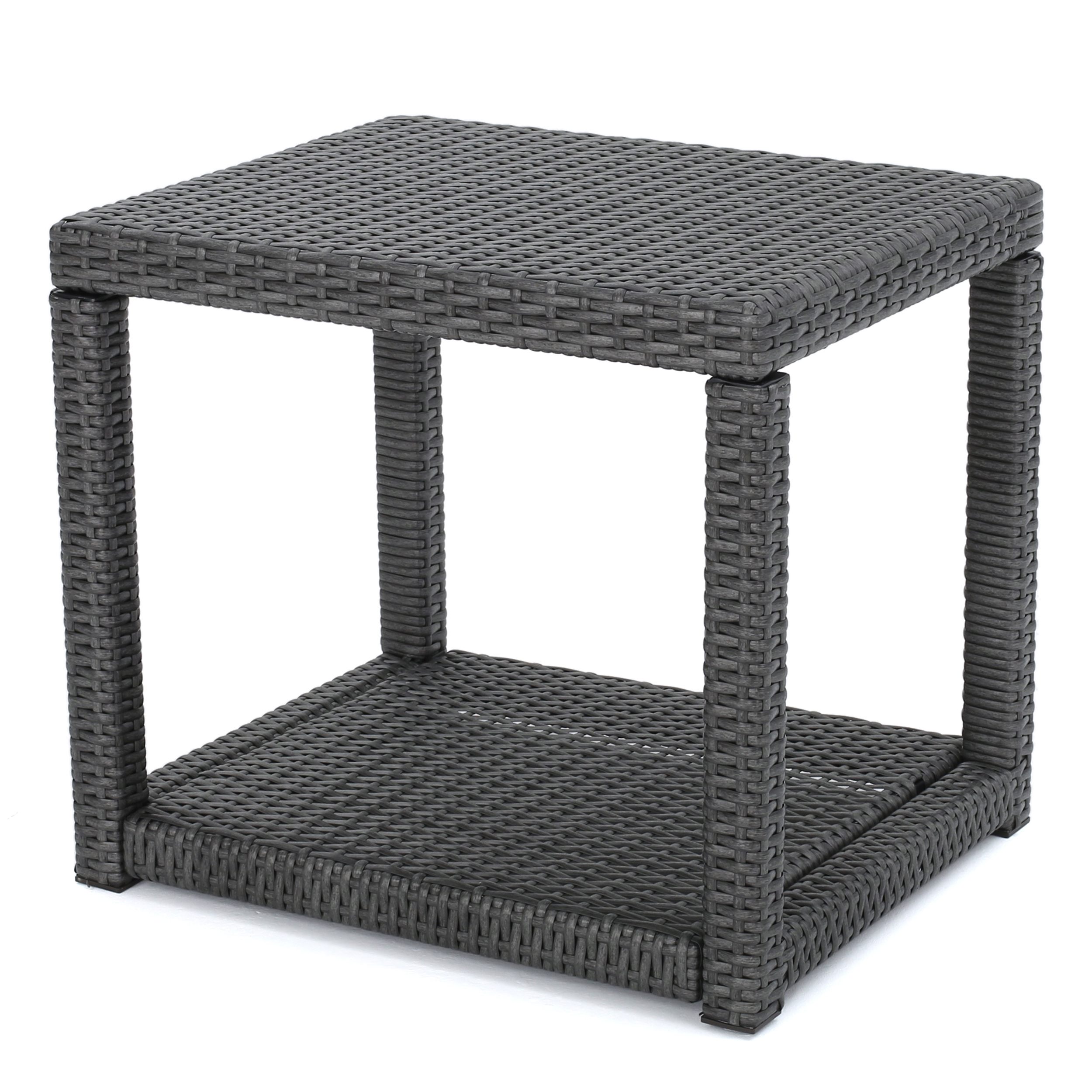 Palawan Outdoor Wicker Accent Table, Grey
