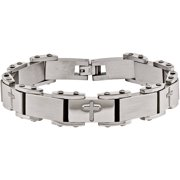 Stainless Steel Laser-Cut Crosses Bracelet, 8.75