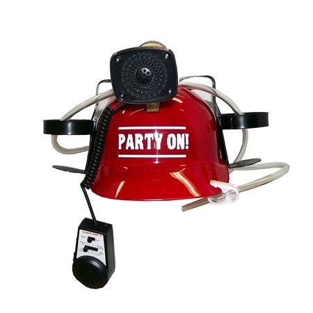 Beer, Cola, Soda Helmet Hard Hat Can Holder w/ Siren and Novelty Decal (Red,