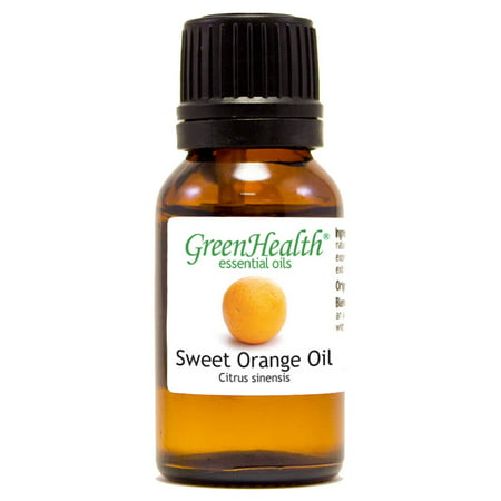 Sweet Orange Essential Oil - 1/2 fl oz (15 ml) Glass Bottle w/ Euro Dropper - 100% Pure Essential Oil by GreenHealth Essential Oil 1/2 Oz Bottle