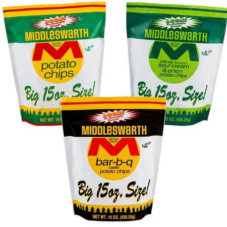 Middleswarth Potato Chip Variety 3-Pack: Original, BBQ, Sour Cream & Onion 15 Oz. Bags (1 of Each)