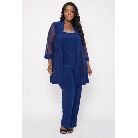 b3f90d8dbd5 The Dress Outlet - R M Richards Long Formal Formal Pant Suit Plus Size Dress  - Walmart.com