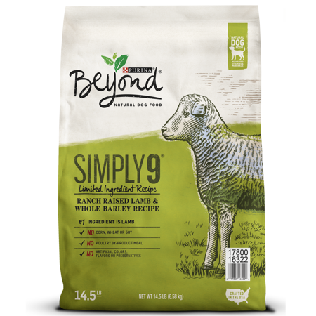 Purina Beyond Limited Ingredient, Natural Dry Dog Food, Simply 9 Ranch Raised Lamb & Barley Recipe - 14.5 lb.