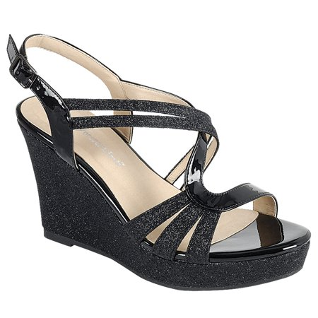 Forever FQ22 Women's Glitter Strappy Wrapped Wedge Heel Platform - Glitter Wedge Sandals