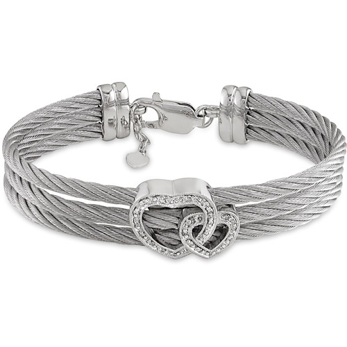 Stainless Steel 3-Strand White Cable Bangle with Sterling Silver Lobster Clasp and Diamond Accented Hearts