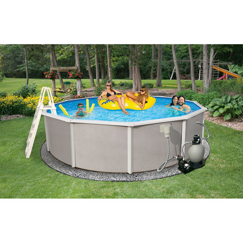 "Blue Wave Round 24' x 52"" Deep Belize 6"" Top Rail Metal-Walled Swimming Pool"