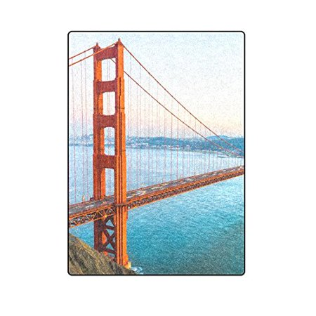 CADecor Golden Gate Bridge San Francisco Blanket Throw Super Soft Warm Bed or Couch Blanket 58x80 inches ()