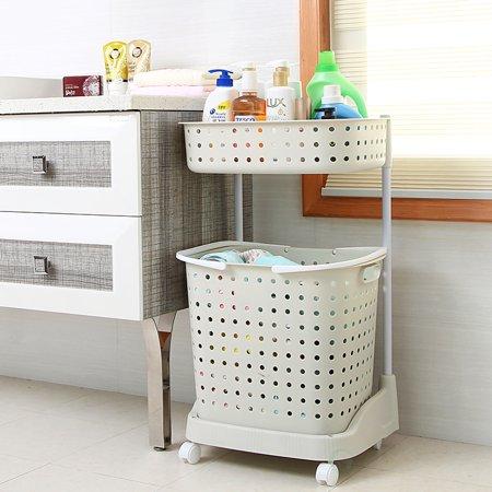 2 tier plastic laundry basket with wheels. Black Bedroom Furniture Sets. Home Design Ideas
