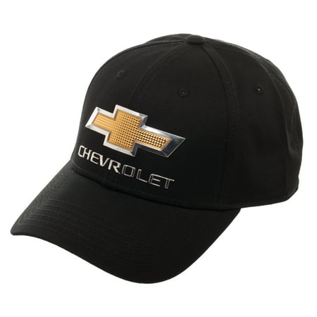 Hat With Light (Chevrolet Black Adjustable Baseball Hat with Lightweight Chevrolet Emblem and Curved)