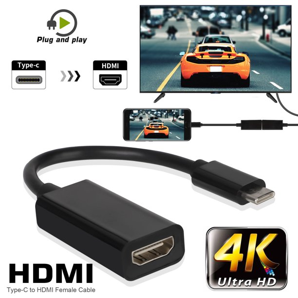 USB C to HDMI Adapter 4K Cable, TSV USB 3.1 Type-C to HDMI ...