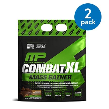 (2 Pack) MusclePharm Combat XL Mass Gainer Protein Powder, Chocolate Peanut Butter, 50g Protein, 12