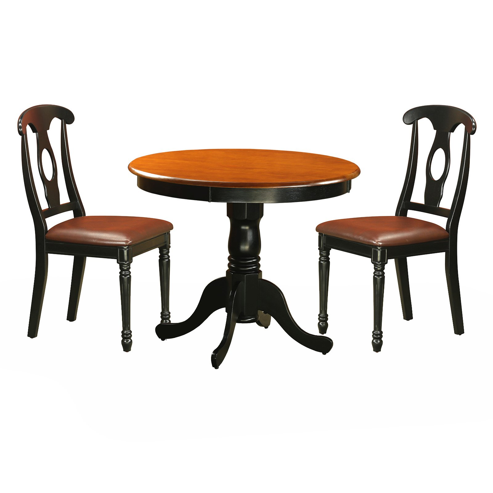 East West Furniture Antique 3 Piece Pedestal Round Dining Table Set with Kenley Faux Leather Seat Chairs