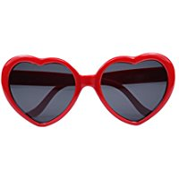 Large Oversized Womens Red Heart Shaped Sunglasses Cute Love Fashion Eyewear - 52mm