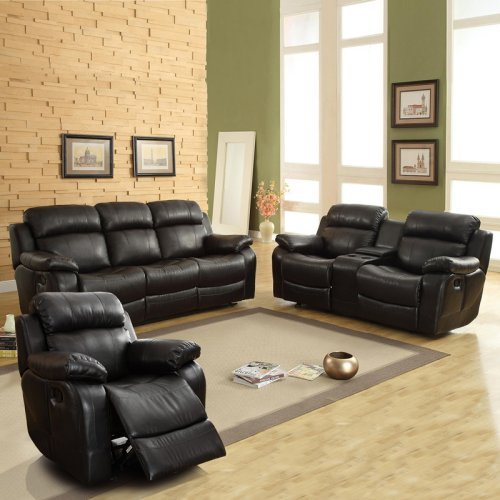 Darrin Leather Reclining Sofa Set with Console - Black
