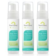 No Rinse Body Wash & Shampoo by Nurture | Hospital Grade Full Hair & Body Cleansing Foam with Aloe Vera - Non Allergenic - Non Sensitizing - Rinse Free Wipe Away Foaming Cleanser - 3 Bottles - Best Reviews Guide