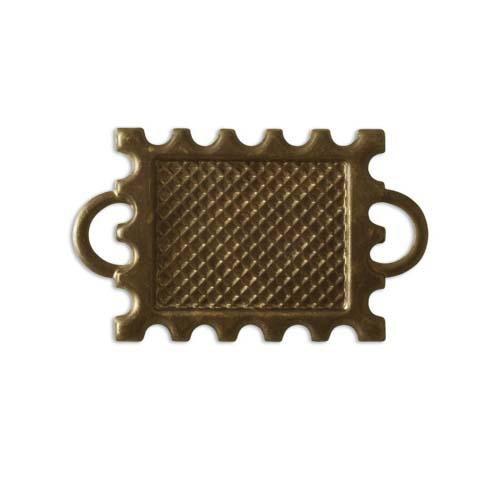 Vintaj Natural Brass Postage Stamp Rectangle Bezel Connector 19mm (1)