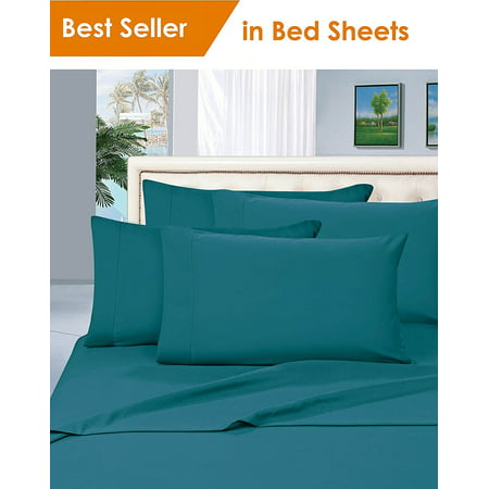 Elegant Comfort® Luxury Silky-Soft 1800 Series Premium Collection - Wrinkle-Free 4-Piece Bed Sheet Set, Deep Pocket up to 16 inch, Split King, Turquoise