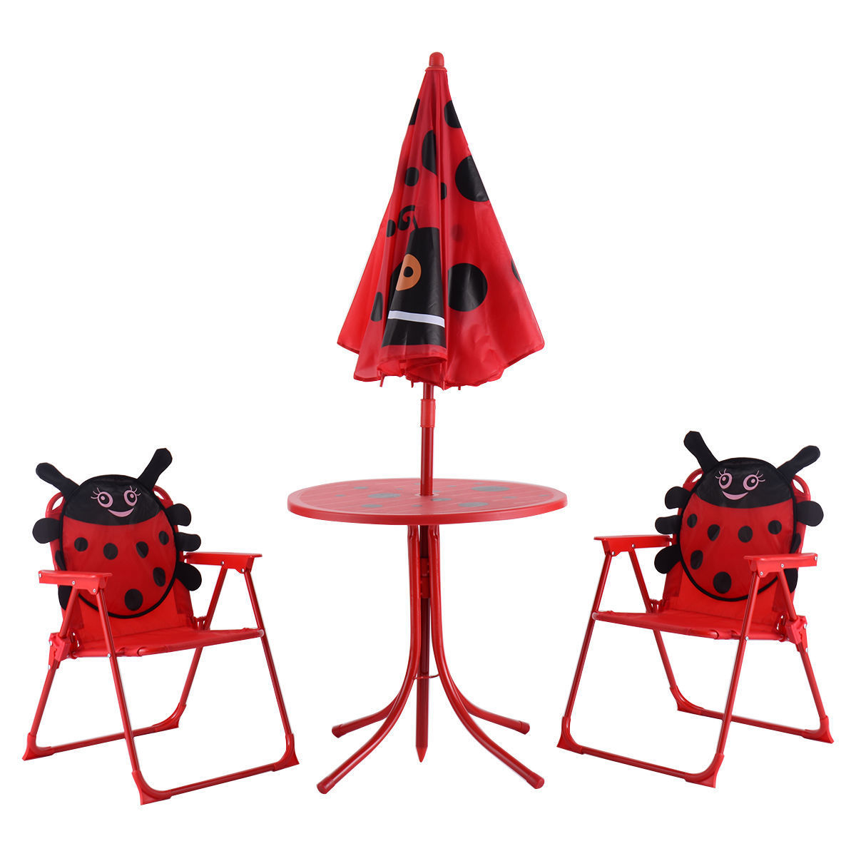 GHP Red Metal & Fabric Oxford Cloth Round Table w 2 Chairs & Beetle Printed Umbrella