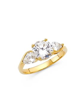 Ladies 14K Solid Yellow Gold 1.00 cttw Round Cut Cubic Zirconia 2mm Wedding Engagement Ring, Size 6