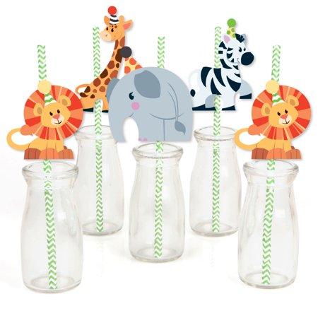 Jungle Party Animals - Paper Straw Decor - Safari Zoo Animal Birthday Party or Baby Shower Striped Decorative Straws-24