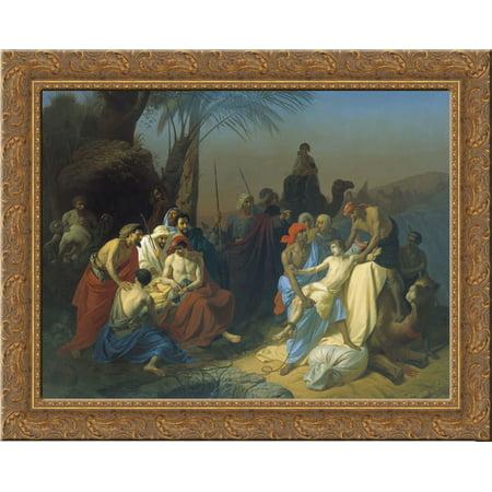 Children Of Jacob Sell His Brother Joseph 24X20 Gold Ornate Wood Framed Canvas Art By Konstantin Dmitriyevich Flavitsky