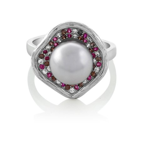 10mm Cultured Freshwater Pearl and Pave Multi-color Gemstone 925 Sterling Silver Flower Cocktail Ring